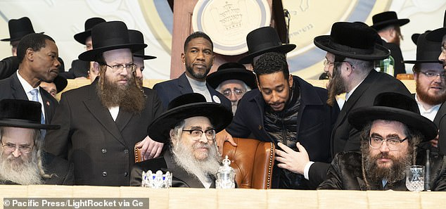 The wedding ceremony for the relative of Zalman Leib Teitelbaum (center), a grand rabbi of the Satmar sect, was set to take place at the Satmar Shal synagogue on Rodney Street and the United Talmudical Academy on Bedford Street in Williamsburg Monday