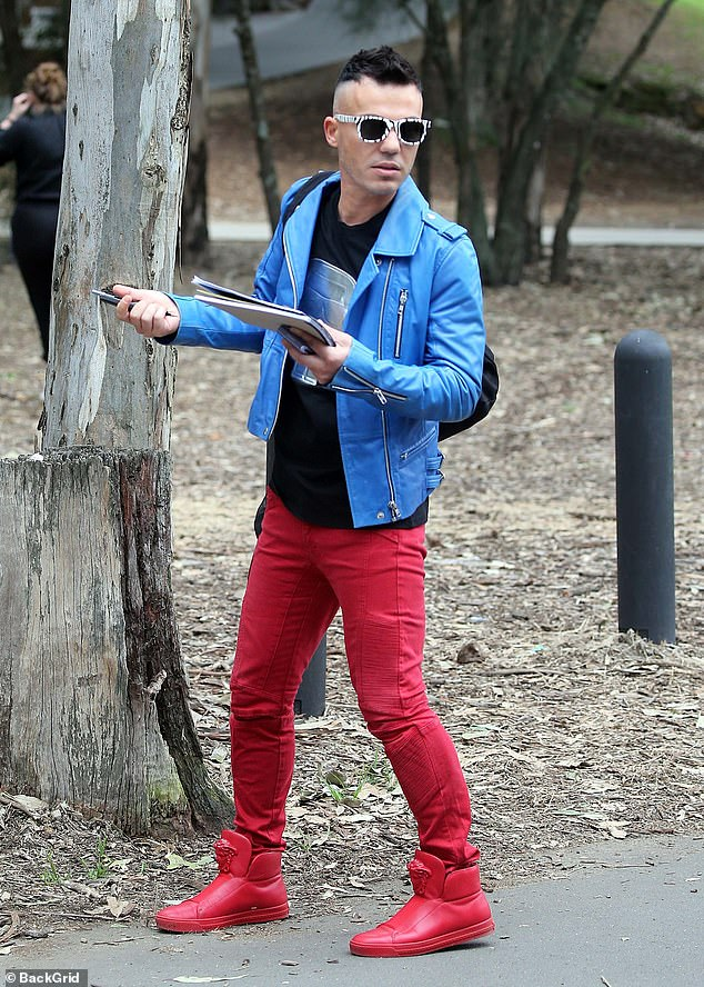 Red hot! Anthony Callea stood out from the pack in a bright blue leather jacket which he teamed with a red trousers and matching red shoes