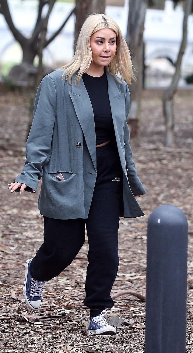 Feeling the pressure? MAFS' Martha Kalifatidis, 32, appeared tense as she filmed scenes for Celebrity Apprentice Australiain Cabramatta, Sydney on Friday