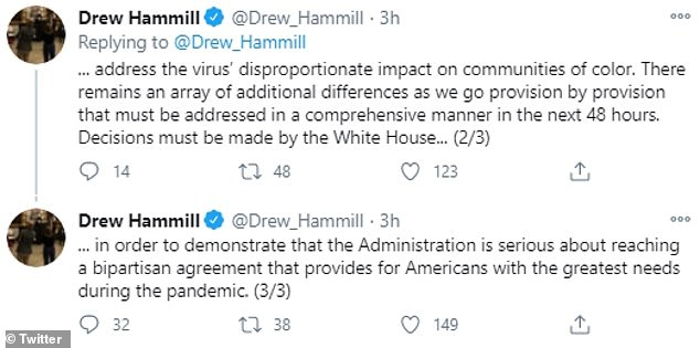Hammill revealed Nancy Pelosi imposed a 48-hour deadline on the White House to address 'an array of additional differences' over potential bills