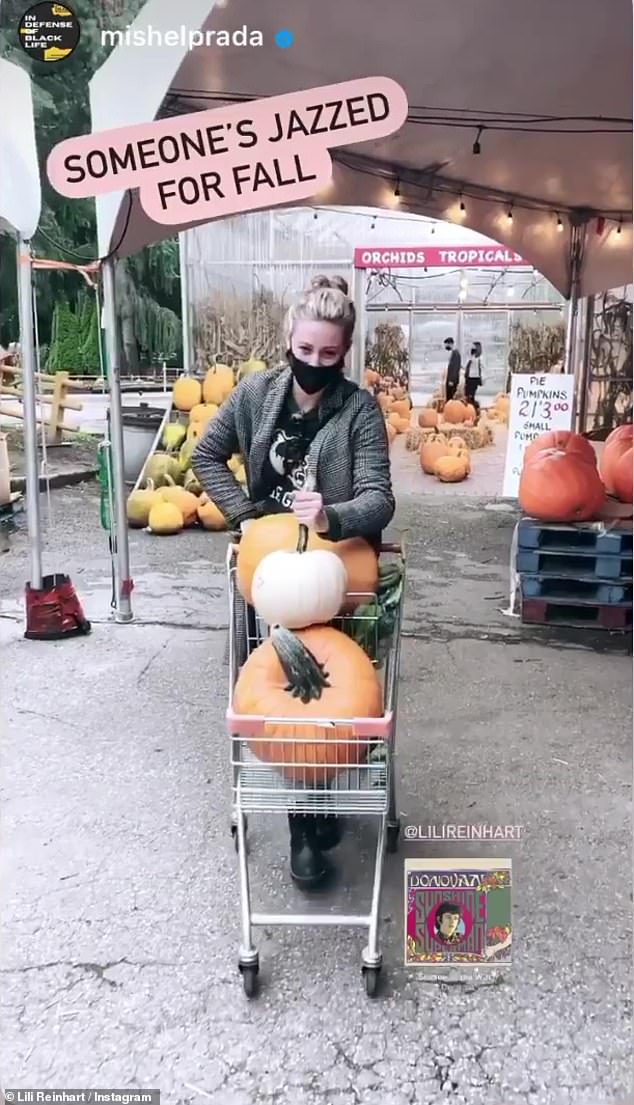 Autumn shopping: After dropping off Milo back at her home, Reinhart headed back out to do some fall shopping, where she picked up a few pumpkins