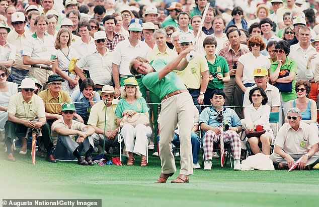 Newton lost his right arm and eye after walking into an airplane propeller in 1983. Pictured: Newton in action at the 1980 US Masters at Augusta National in Georgia