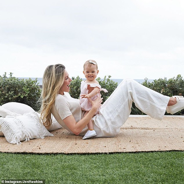 'We adore you, cheeky monkey': Jennifer Hawkins, 36, (pictured) shared a series of adorable photos of her daughter Frankie on Instagram to celebrate her first birthday on Saturday