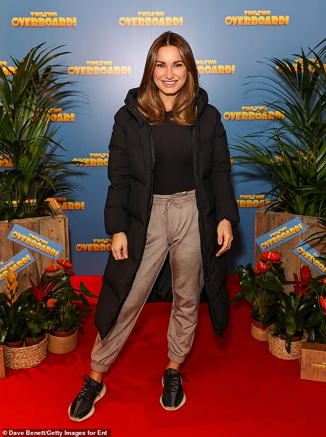 Casual:Sam Faiers, 29, stepped out to attend a VIP family screening of new film Two By Two: Overboard in London on Sunday