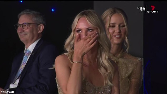 Moved: On Sunday, the blonde beauty wiped away tears as her husband paid tribute to her while accepting his Brownlow Medal win, revealing she sold her successful beauty salon in Perth to follow him to Brisbane for his football career