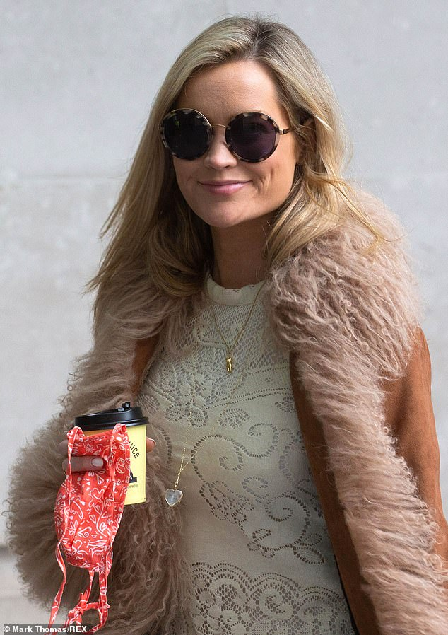 Groovy:The Irish star looked gorgeous for her radio stint, standing out in her suede coat with furry trim