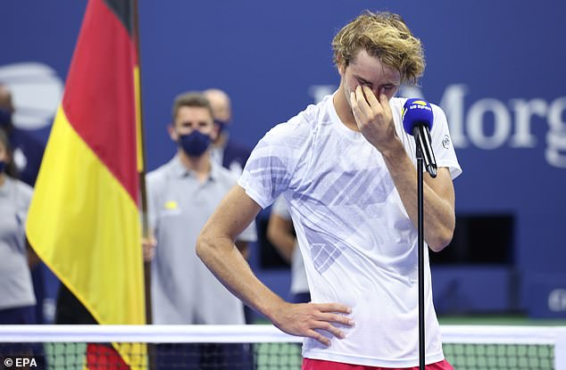 Zverev was distraught after losing a five-set thriller to Dominic Thiem in the US Open final