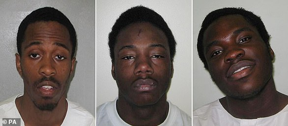Pictured (left to right) Nathaniel Grant, Anthony McCalla and Kazeem all of who were jailed for the gang-related shooting that left five-year-old Thusha Kamaleswaran permanently paralysed
