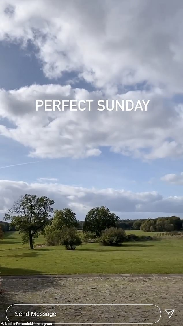 Stunning:The beauty gave a panoramic view of the stunning landscape as she filmed rolling hills on her Instagram Story, captioned: 'Perfect Sunday'