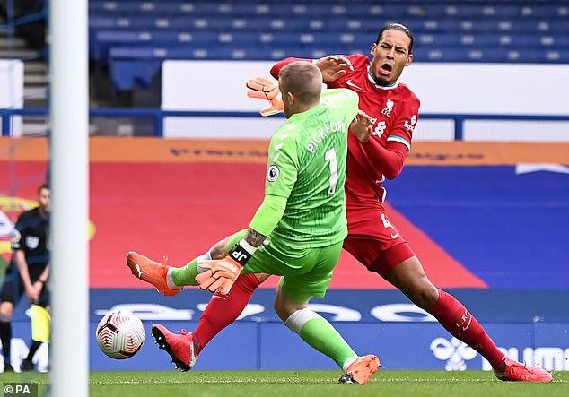 Virgil van Dijk was clattered by Jordan Pickford shortly after Liverpool had taken the lead