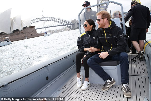 TRAINERS IN STEP WITH ETHICAL VALUES: Every step was carefully planned as Meghan and Harry carried out their first major tour of Australia in October 2018, right down to the trainers on the pregnant Duchess's feet. Her £95 Veja trainers, made with ethically sourced rubber have since been named the 'world's hottest shoes'. The brand's 'green' shoes are made from recycled plastic bottles, organic cotton and some models are vegan, but Meghan's 'Esplar' pair are made using vegetable-tanned leather.