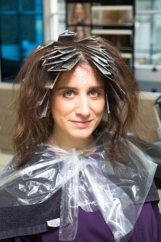 First up, the hair stylists tackled Claire's darker hair, applying lots of colour to remove the darker tones and infuse a rich lighter colour similar to Kate's (pictured)
