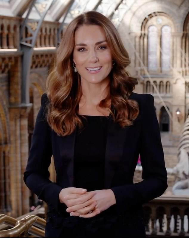 Kate Middleton revealed her new look lighter hair look which is the envy of many while filming in theHintze Hall at the Natural History Museum in London ahead of the virtual awards ceremony for the Wildlife Photographer of the Year
