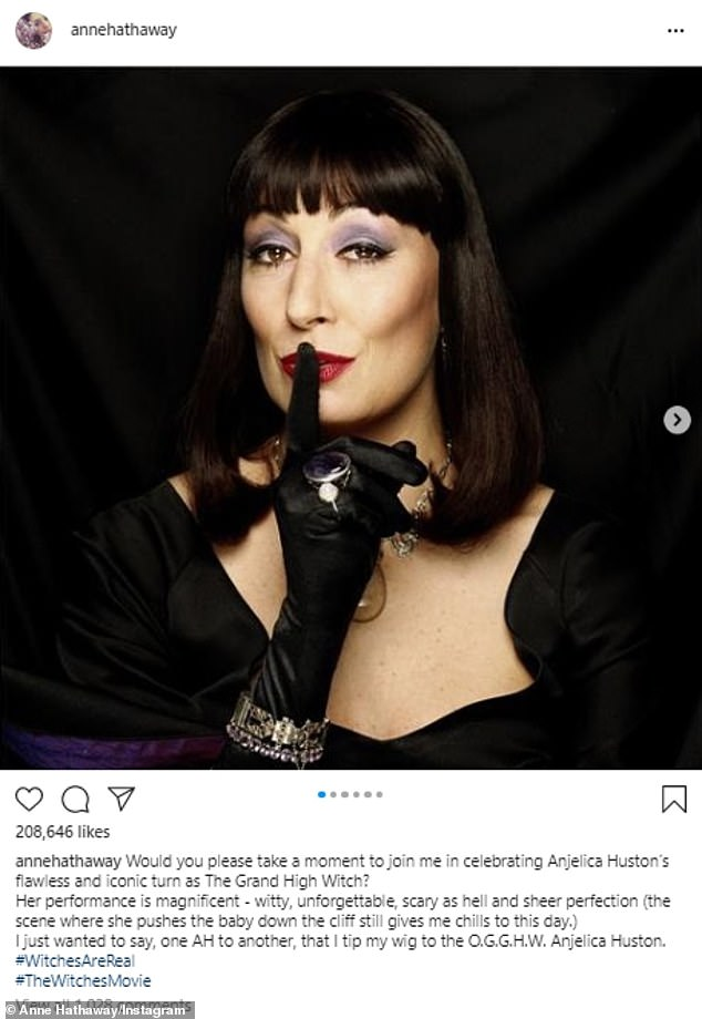 Hathaway gushed of the 69-year-old Oscar winner on October 9:'Would you please take a moment to join me in celebrating Anjelica Huston's flawless and iconic turn as The Grand High Witch?'