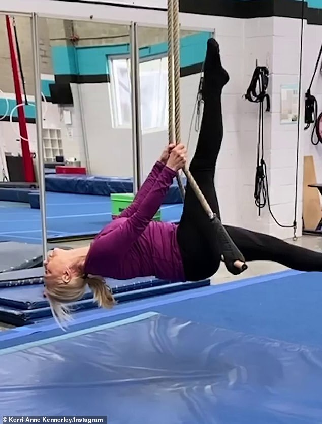 Hard work: Kerri-Anne's revelation about Celebrity Apprentice comes as she prepares for her exciting new role in the musical production of Pippin, which opens next month.She will play Grandma Berthe and has been preparing for her role by doing acrobatic training (pictured)