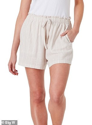 The affordable summer shorts (pictured) from Big W looks almost identical to Country Road's $89.95 'organically grown' linen shorts