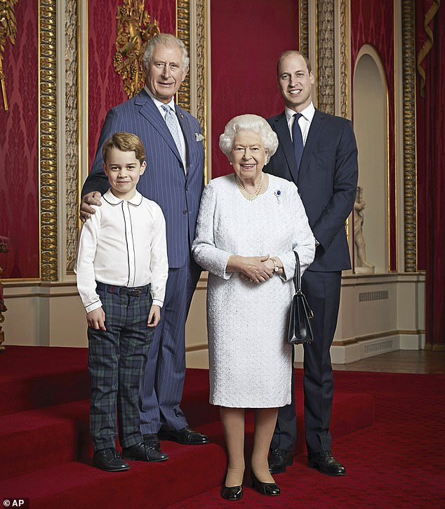 Message: Buckingham Palace also released a new portrait of Her Majesty and her three heirs, which Lacey says was meant to send a message to Harry and Meghan - 'remember your place'