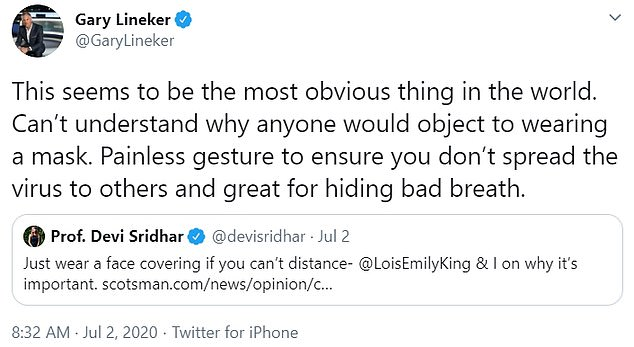 Earlier this year, Lineker made her views very clear on wearing masks to prevent the spread of covid-19, sharing a series of tweets on the subject.