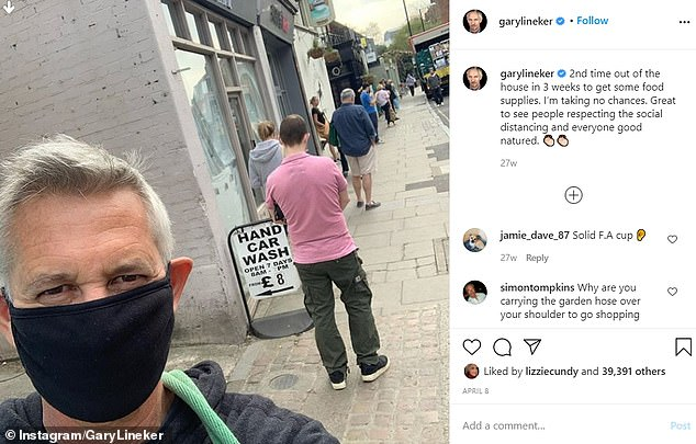 In April, Lineker shared a photo of himself queuing to enter the Barnes M&S dining hall, with the caption 'I'm taking no chances'