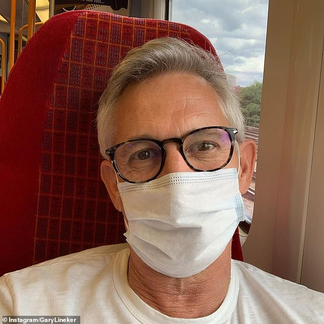 Three months ago, Lineker shared a photo of himself taking a train trip wearing a mask with the caption: 'On a train. So exciting '