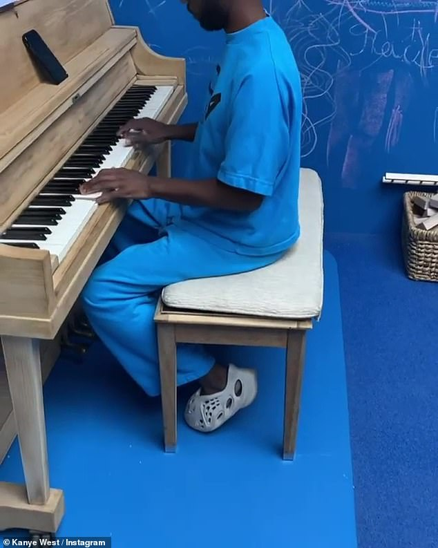 Monochromatic: In the video, Kanye captured a pianist on the keys in an all-blue outfit, as they stood in an all-blue room