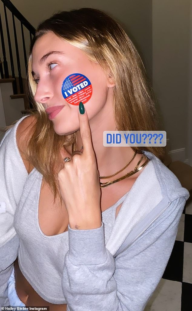 Done! Hailey also showed off her 'I voted' sticker after dropping off her ballot