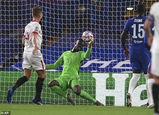 Chelsea produced a strong defensive performance on Tuesday night in the Champions League, with Mendy making a save in a 0-0 draw at Stamford Bridge against Sevilla.