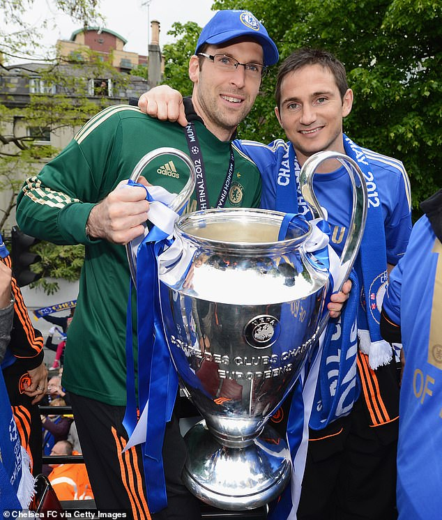 But Lampard called on his former Blues teammate, with whom he is pictured celebrating the Champions League victory with in 2012, to serve as a goal cover in an emergency.