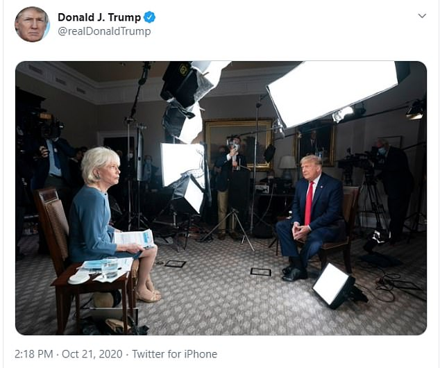 Earlier Wednesday Trump posted photos from his interview with CBS' Lesley Stahl and has threatened to post the entire interview online ahead of its Sunday air date