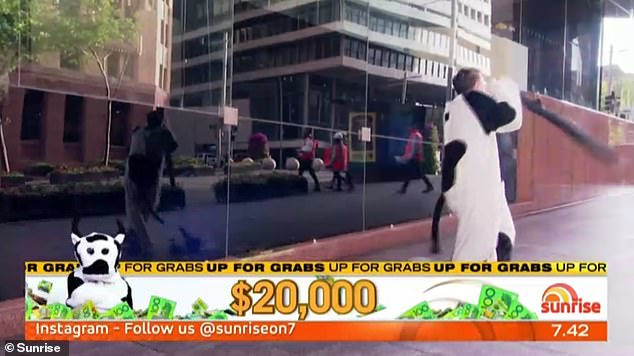 Run for cover! In October, the mascot's head famously fell off during a live segment outside Brekky Central in Sydney's Martin Place,revealing the young male staffer underneath