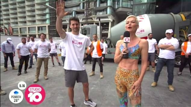 Looking good! Former Studio 10 co-host Jessica Rowe (right, with Matty Johnson) surprised viewers with her incredible abs as she returned to the show for a charity segment on Thursday
