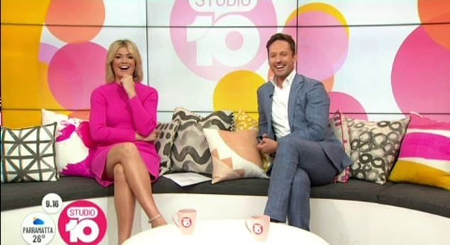 'Look at those abs!' During a live cross for charity fundraiser Burpees4Boobs, Studio 10 host Sarah Harris (left, with Tristan MacManus) complimented Jessica on her 'great rig'
