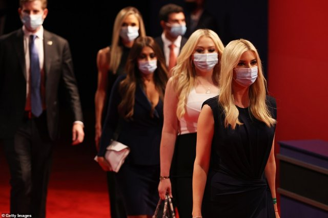 Most of the Trump family opted for basic surgical masks as the entered the debate arena in Nashville