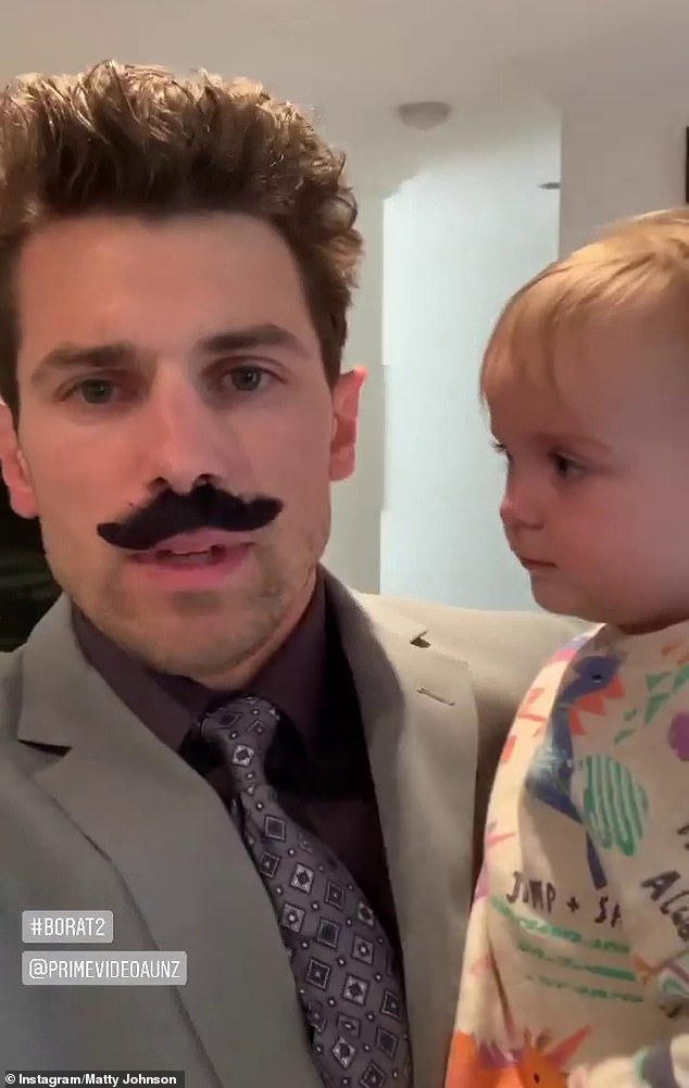 Iconic suit: Another video, this time shared to Matty's Instagram Stories, saw the former reality star changing into Borat's signature grey suit, and adding his black moustache