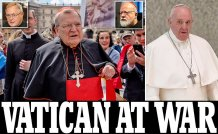The Vatican is at War Over Pope Francis's Demonic Endorsement of Homosexual Unions: Cardinal Raymond Burke rebukes Pope Francis for sowing 'confusion' among Catholics and says the pontiff's 'private opinion' does not 'correspond to the teachings of the Church'