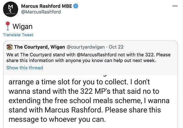 Rashford's social media blew up on Friday as he re-tweeted businesses offering their help