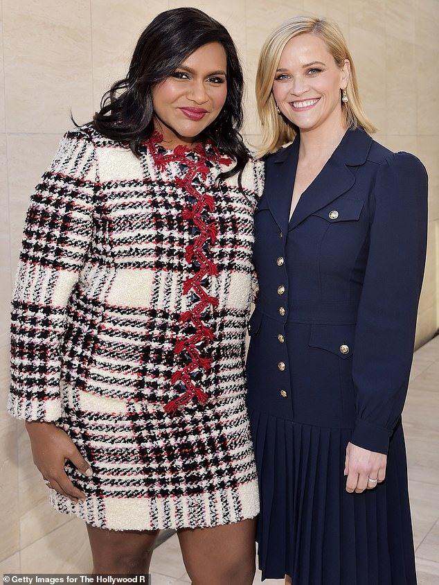 BFF goals: Witherspoon and Kaling starred together in the 2018 feature adaptation of A Wrinkle In Time, and they've appeared in each other's shows The Mindy Project and The Morning Show (pictured in December, 2019)