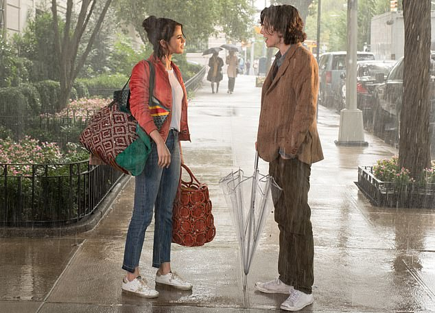 On-screen romance: Gomez and Chalamet previously starred together in Woody Allen's A Rainy Day in New York, which premiered earlier this month in the US, after its premiere was suspended in 2018, at the amid the author's #MeToo scandal.