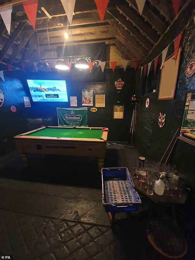 Gardai found a pool table, bar, 70 inch flat screen TV, tables and chairs in the shebeen