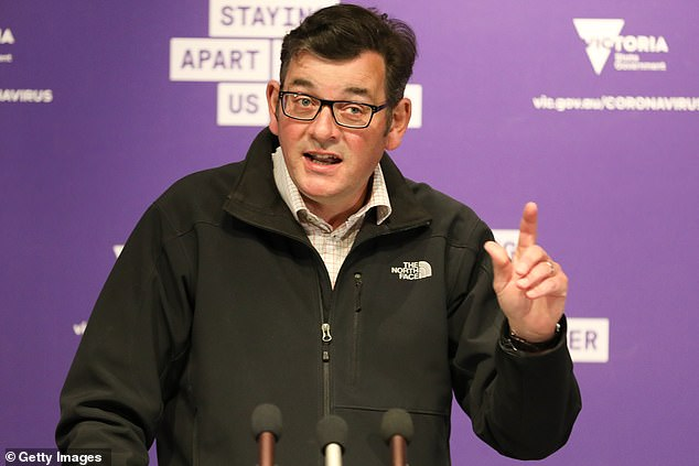 Prime Minister Daniel Andrews (pictured Monday) eased restrictions on Melbourne, a city of five million people