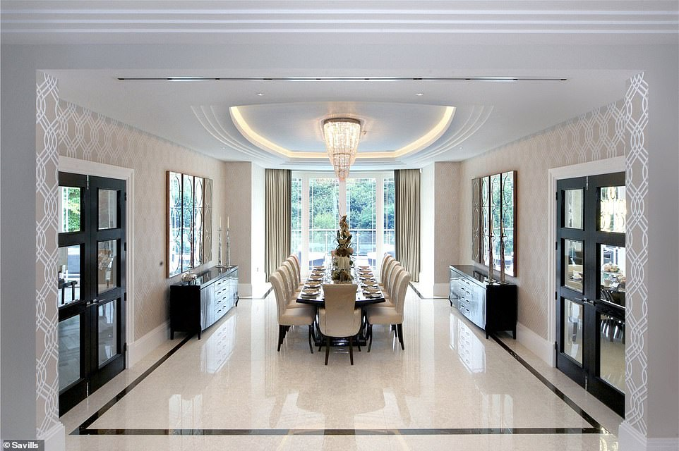 A mansion for entertaining: The dining room can easily accommodate a dozen family and friends