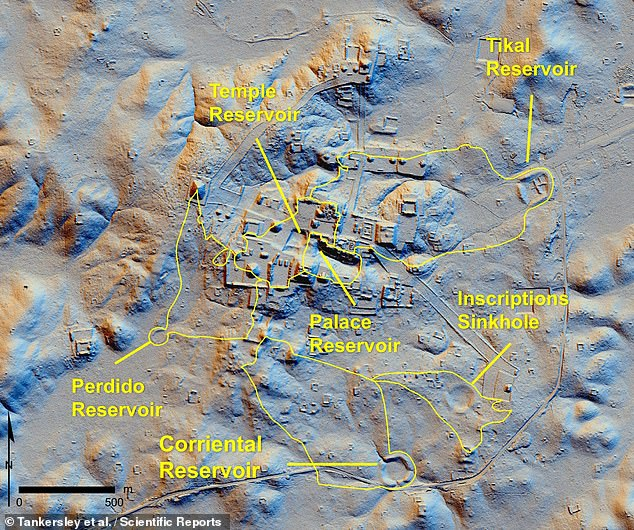 The researchers traced the origin of the quartz and the zeolite — the latter of which was only found at Tikal in the Corriental reservoir — to the steep ridges of the Bajo de Azúcar, about 18 miles (29 kilometres) northeast of the city. Pictured, a LIDAR-based 'hillshade' image of the Tikal site, with the location of the various reservoirs, includingCorriental, outlined