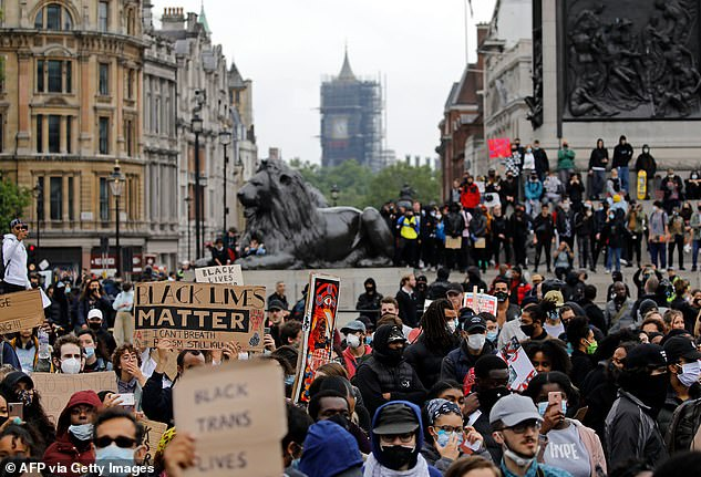 The new political party is inspired by the Black Lives Matter movement. Pictured: Black Lives Matter protests at the base of Nelson's Column in Trafalgar Square in June this year