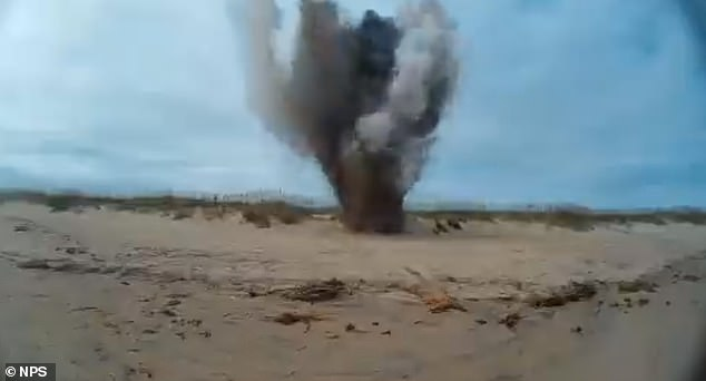 The U.S. Navy Explosive Ordnance Disposal unit detonated the live bomb with C-4 and other explosives, sending a smoke and debris 60 feet in the air.  A half-mile security perimeter was established around the site, but the explosion could be heard from much further away