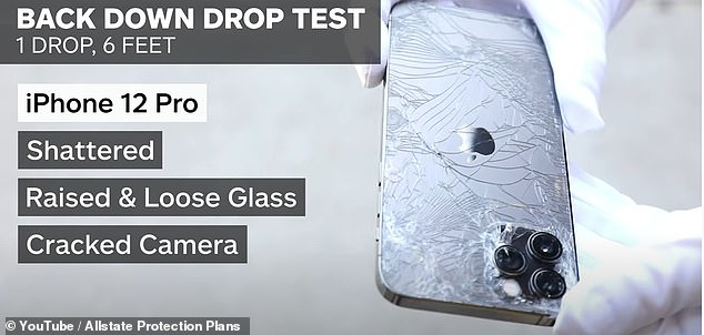 The iPhone 12's back shattered resulting in loose glass because it is not designed with the shield on the rear. 'The damage was not catastrophic, and the iPhone 12 Pro functionality did not appear to be impacted,' Allstate shared
