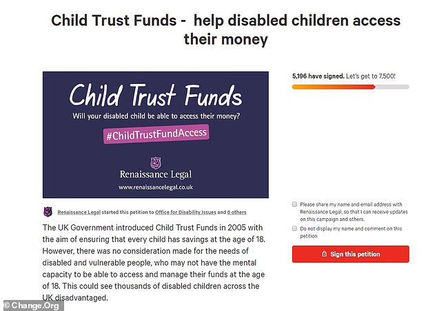 A petition started by the law firm Renaissance Legal has now received nearly 5,200 signatures, 700 of which have come since This is Money reported on the Child Trust Fund problems last month