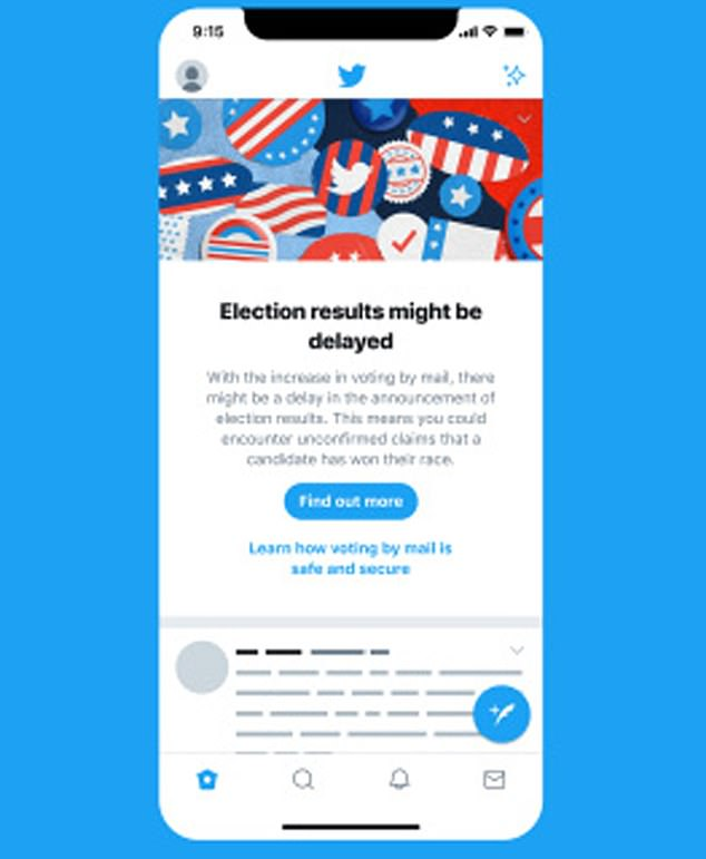 The banner regarding election results, which will roll out Wednesday, notifies users that because there is an increase of voting by mail, there may be a delay in announcing the results