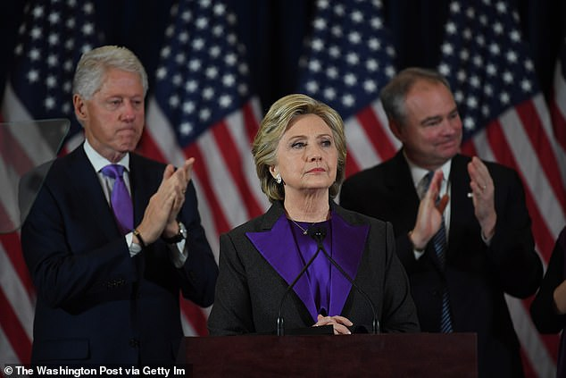 Hillary Clinton (center) is pictured on November 9, 2016, while making her concession speech