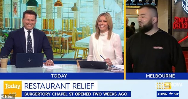 Melbourne venue names monstrous 'spicy' burger creation after Today show host Karl Stefanovic (left) as they celebrate COVID-19 restrictions lifting