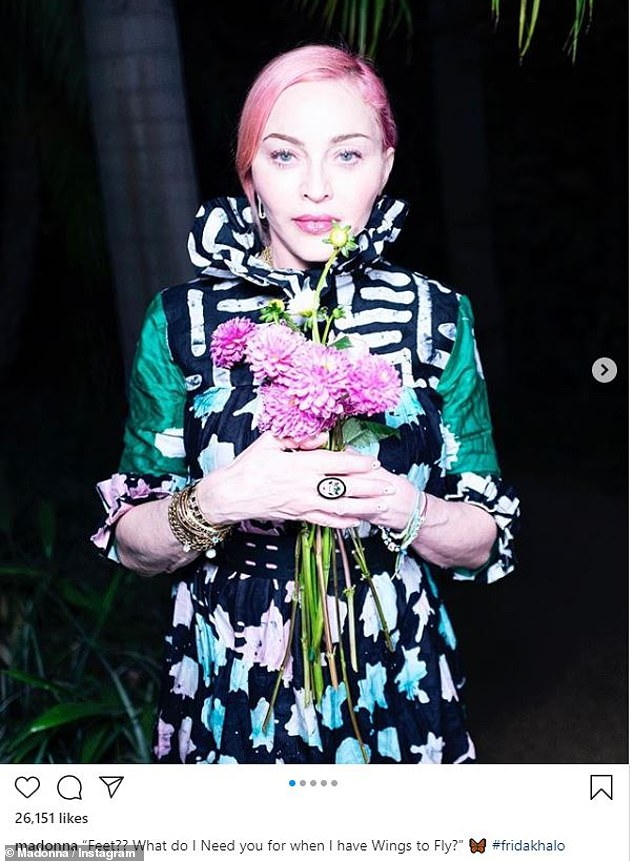 It wasn't immediately clear what the shoot was for, but Madonna never needed a reason for an impromptu photo shoot: Here on Instagram earlier this month in a beautiful green dress